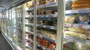 Co-op fridge aisle with doors