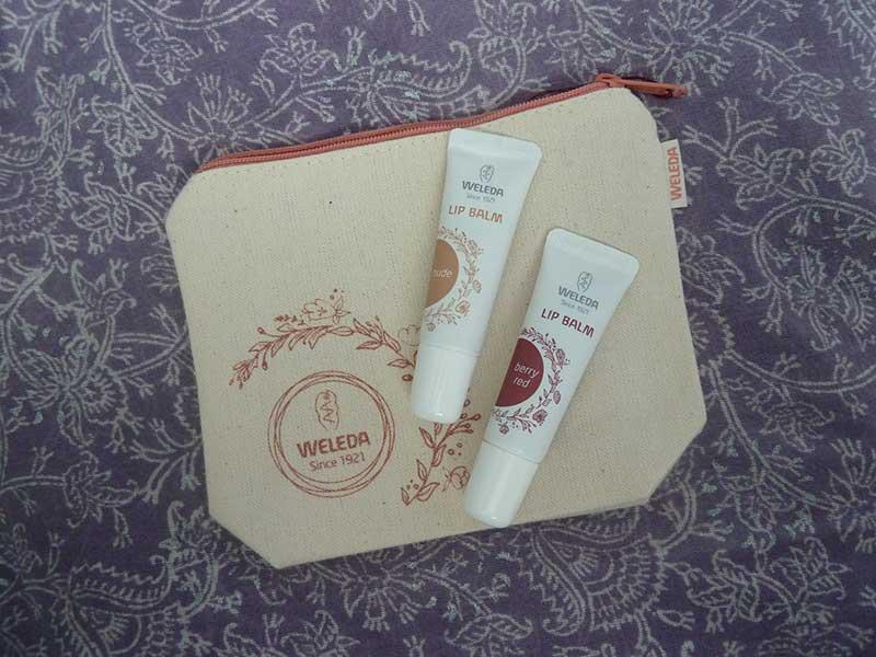 Weleda Tinted Lip Balms with organic cotton bag